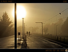 Waiting For The Train (tomraven) Tags: morning light newzealand mist misty train geotagged interestingness day shadows cloudy silhouettes explore trainstation wellington trentham aug14 explored mywinners pentaxart tomraven aravenimage q309 geo:lat=41142362 geo:lon=175025908