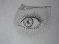 Worried Eye (Last Words photography) Tags: white black eye art pencil sketch eyes artist drawing fear cartoon sketching worried worry scared sketches shading