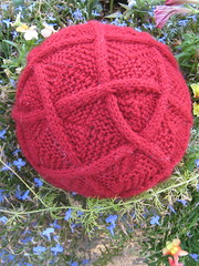60-square cabled entrelac ball