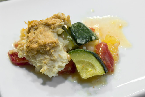 Brie, Tomato and Summer Squash Savory Cobbler