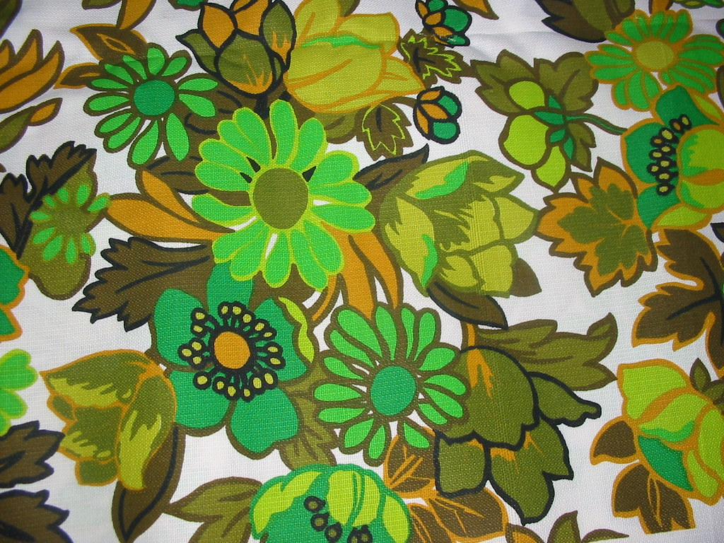 Crazy Daisy Vintage 1960s Upholstery Fabric 4 1/2 yards