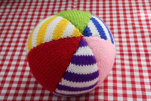 knitted stripy ball
