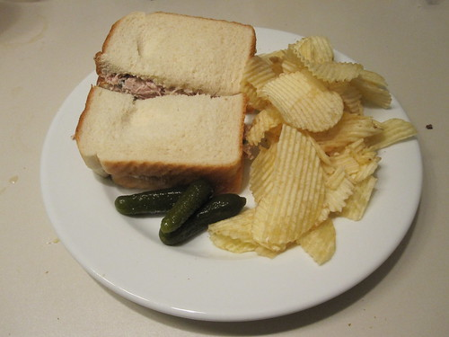 Tuna sandwich, pickles and the Ruffles I bought earlier
