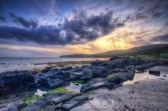 Last Light (almonkey) Tags: blue sunset sea sky colour yellow scotland sand nikon rocks purple arran hdr ott lastlight rockpool omot d700 kildonanbeach overdonebutilikeit crankingthesliders