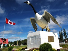 IMG_4073 (LordWalt Thanks for 6.1 million views) Tags: park city travel blue trees red sky ontario canada green statue clouds canon daylight scenery view flag peaceful powershot daytime tranquil wawa goosestatue sx10is waltphotos