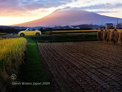 Iwaki Sunset. Featuring Daihatsu Copen. (Hirosaki Japan).  Glenn Waters. Japan. Over 14,000 visits to this photo.  Thank you. (Glenn Waters in Japan.) Tags: sunset sky mountain art cars sports field car yellow japan clouds volcano countryside nikon open rice paddy farm 110 harvest explore toyota getty hirosaki sportscar iwaki cabriolet daihatsu  convertable copen opencar      explored japanesecar  d700  homersiliad  glennwaters