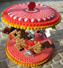 3-D Perler Bead Carousel (Kid's Birthday Parties) Tags: carnival horses beads craft carousel unicorns kidscraft perlerbeads beadcraft perlerbeadproject carouselcraft carnivalcraft 3dperlerbeadproject perlerbeadcarousel