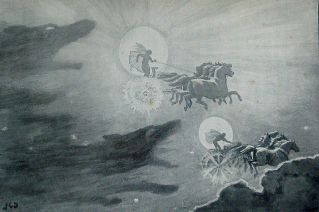The Wolves pursuing Sol and Mani. by J.C. Dollman