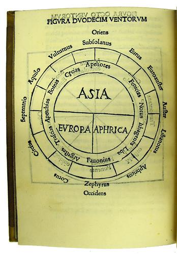 Woodcut map of the world in Lilio, Zaccaria: De origine et laudibus scientiarum et al
