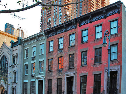 NYC NEW YORK CITY Building Row Houses 1800s Brick Architecture