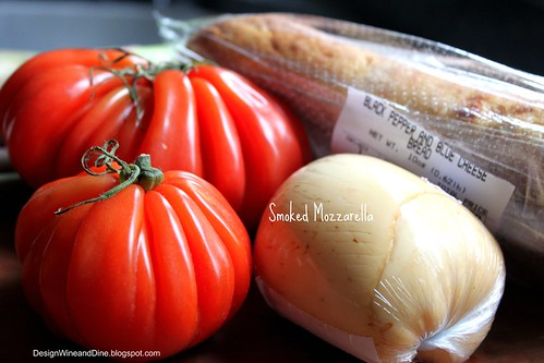 Heirloom tomato, smoked mozzarella and a Black Pepper & Blue Cheese baguette