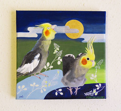 Full Moon Night (YokosGallery) Tags: blue original portrait pets moon art birds night pen silver painting japanese gold acrylic fullmoon canvas cockatiel etsy oriental parrots midnightblue yokosgallery