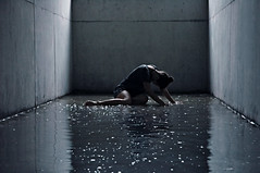 (laura zalenga) Tags: ocean blue light sea woman wet water pool girl shirt night pose dark floor depression laurazalenga