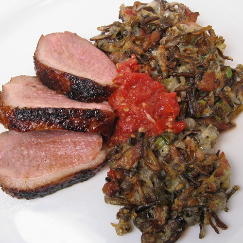 Grilled Duck Breast with Wild Rice Cakes & Sesame Tomato Chutney