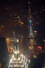 Towers (lincolnblues) Tags: china city sky building tower skyscraper shanghai tall pudong shanghaichina shanghaiworldfinancialcenter