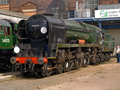 "Eddystone (Gerry Balding) Tags: birthday england electric diesel trains hampshire steam event engines works locomotives eastleigh 100"" eddystone bulleid westcountryclass uksteam 34028 ""eastleigh rebuiltlightpacific"