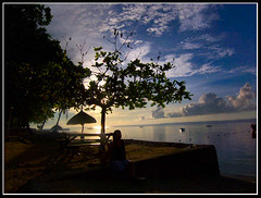 Sunrise in Mactan... (xelor (on and off)) Tags: sea water clouds sunrise reflections cebu mactan lapulapu cebusugbo