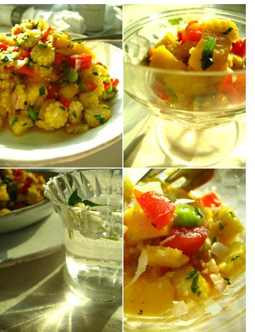 Thai baby corn-sweet pepper-mango-edamame salad