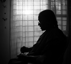 a simple silhouette. (purplebeats) Tags: grandma bw silhouette dark alone mother bestfriend naani ajji