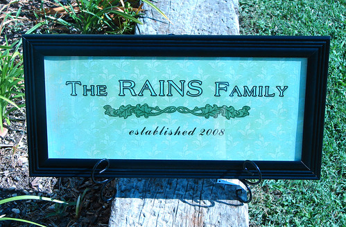 Rains Family: Established Sign (framed)