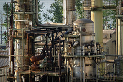 Chevron Burnaby Oil Refinery close up (amatecha) Tags: industry metal vancouver contrast industrial factory mechanical pipes machinery oil burnaby burrardinlet chevron refinery synthetic fuel crude petroleum oilrefinery
