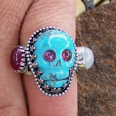"""""""George"""" Red White and Blue American Pride ring in silver and Turquoise with Ruby moonstone Tourmaline"""