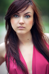 Irina (Geshpanets) Tags: pink portrait girl beauty face hair eyes outdoor 5d 135mm pinkdress 13520