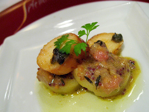 Tunisian Octopus on potato with mustard dressing. We were speaking to Carlo Catallo about wanting to try the mid course, and he sent out this extra bit for us to sample.