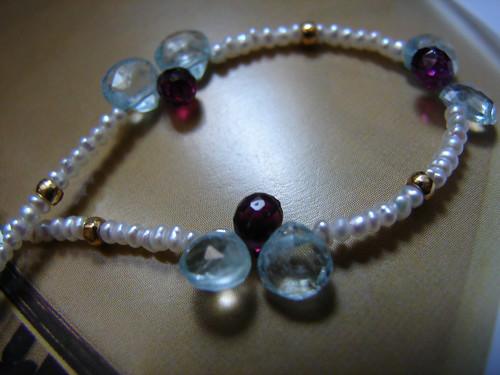 créaJR 1039 Ice blue aquamarine briolettes, rhodolite beads, seed pearls and 18k solid gold bracelet