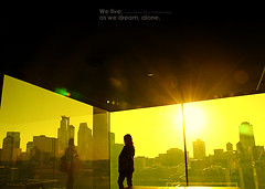 We live, as we dream, alone. (ShanLuPhoto) Tags: life city travel light usa sun sunshine minnesota silhouette yellow america buildings reflections downtown alone bright stpaul minneapolis lonely twincities   loolooimage
