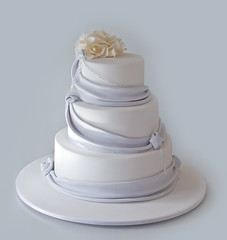 Polly & John's Wedding Cake (Sweet Tiers) Tags: wedding roses cake crystals hand sugar made pewter knots tiers fondant draping swarvski