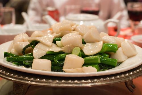 Stir-Fried scallops and King Mushrooms with Gai Lan