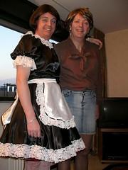Fabienne  & Petra (Paula Satijn) Tags: friends dress lace smiles skirt tgirl apron tranny transvestite satin maid silky