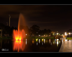 River Fire, Torrens Lake (Dale Allman) Tags: reflection nature water fountain night clouds lights adelaide lighttrails southaustralia 1740 torrens rivertorrens torrenslake canon5dmkii