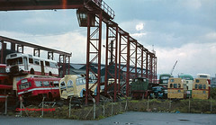 CF Booth of Rotherham, 1978 (Lady Wulfrun) Tags: scrapyard greenline 1950 londoncountry aecregent wypte wmpte aecmerlin leylandroyaltiger debbles busesforscrap scrapbuses boothsofrotherham1970s boothsofrotherham harringtonfinnedcoach bedfordotypelorry bournemouthct ltmerlin portsmouthct eastkentaec cfboothofrotherham scrapbuses1970s clarencemetalworks armerstreetrotherham deeblesofuptoncross harringtondorsal uptoncrosscornwall ncv500
