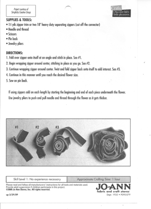 DIY Jo-Ann Fabrics Zipper Rose Corsage tutorial