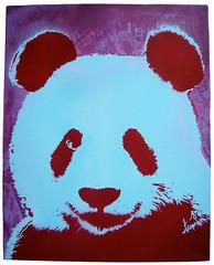 Purple Panda Pop (GUANOdesign) Tags: street blue art set thailand design stencil panda gallery colours purple maroon violet 9 exhibition pop canvas mai series layers spraypaint drips chiang guano mania seescape guanodesign