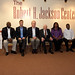 Current and past international prosecutors at the Jackson Center - Joseph Kamara, Norman Farrell, David M. Crane, H. William Caming, Fatou Bensouda, and Alphonse Van