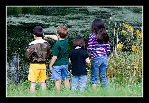 Kids by Pond