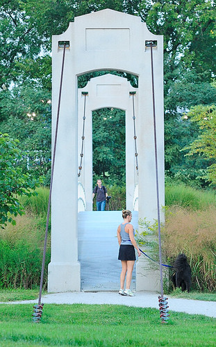 Suspension bridge 2, in Forest Park, Saint Louis, Missouri, USA