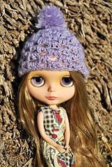 7. Purple crocheted wth ponpon