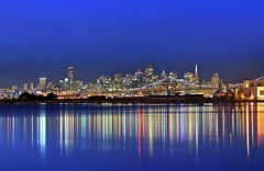 reflective color scope (pbo31) Tags: sf sanfrancisco california above city bridge blue urban usa black color reflection water northerncalifornia skyline architecture night america dark bay lowlight nikon october view over structure baybridge bayarea eastbay bluehour d200 80 alameda 2009 alamedacounty sanfranciscocounty longexposue