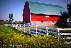 somewhere in northern macomb county * (suesue2) Tags: red sunshine barn fence holga picnic michigan farm  macombcounty suesue2 amazingmich suefraserphotography