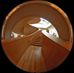 Stair up 1 (kynggefisher) Tags: wood toronto public architecture stair arch skylight fisheye ago curve frankogehry walkercourt stairsequence