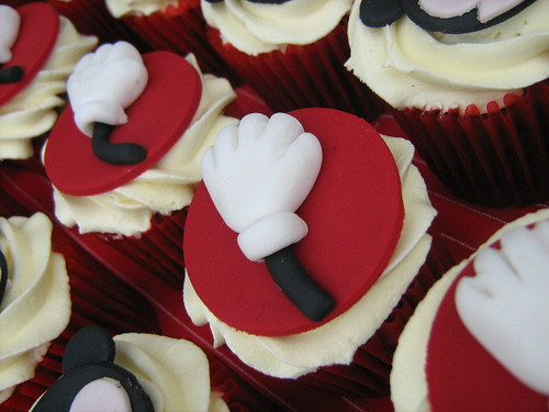 mickey mouse's gloved hand cupcake