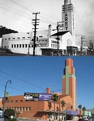 El Rey Theater (SF) Then and Now (Anomalous_A) Tags: sanfrancisco orange cinema green tower church architecture buildings temple theater theatre christian artdeco elrey deco thenandnow oceanavenue ingleside elreytheater pflueger timothypflueger timothylpflueger 1970oceanave