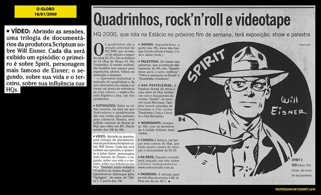 """""""Quadrinhos, rock'n'roll e videotape"""" - O Globo - 16/01/2000"""