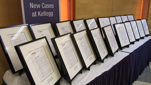Display of new business cases at Kellogg School of Management