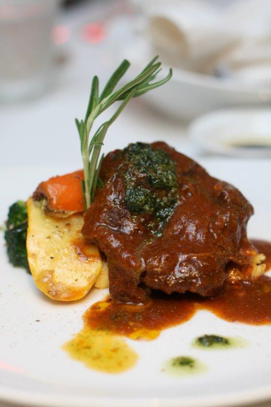 Slow braised black angus beef cheek with creamy polenta