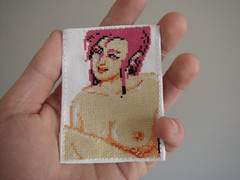 Lucky Lucy ATC (benjibot) Tags: crossstitch crafts videogames swap anatomy nes hotslot phatquarter panesian